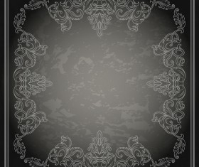 Vintage decor frame with black grunge background vector