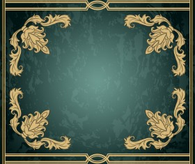 Vintage green grunge background with frame decorative vector 01