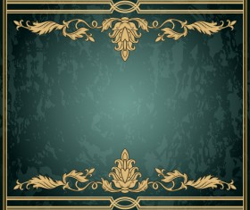 Vintage green grunge background with frame decorative vector 02