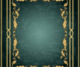 Vintage green grunge background with frame decorative vector 03