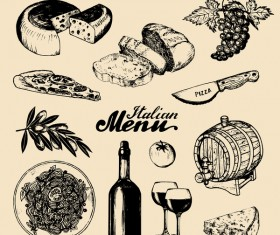Vintage italian menu cover template vector