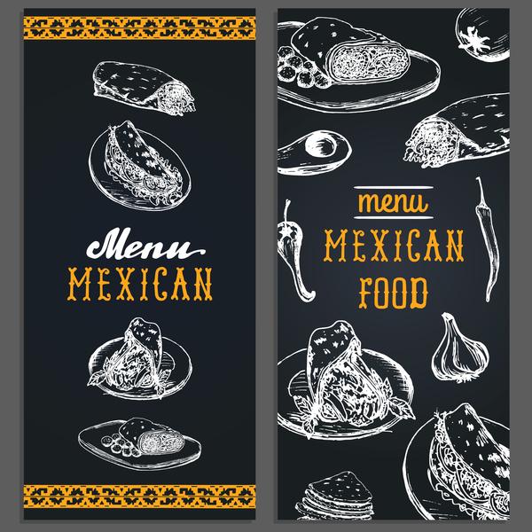 Vintage mexican food menu vectors