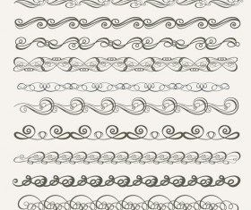 Vintage seamless calligraphic borders vector 01