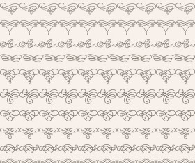 Vintage seamless calligraphic borders vector 03