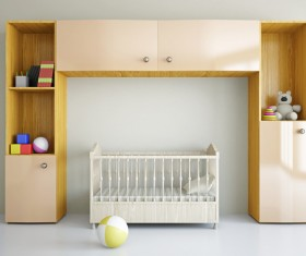 Wall cabinets and cribs Stock Photo