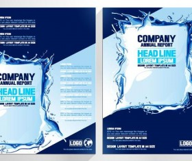 Water splash with blue brochure cover vectors