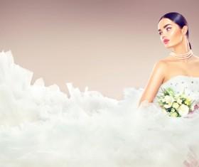 Wearing wedding dress girl art photo Stock Photo 01