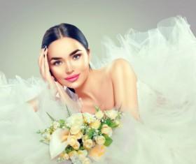 Wearing wedding dress girl art photo Stock Photo 02