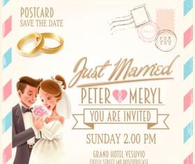 Wedding postercard design vector 01