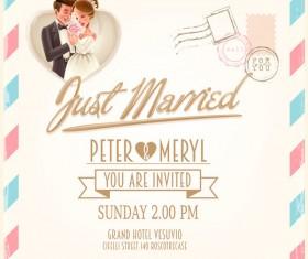 Wedding postercard design vector 02