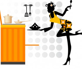 Woman chef cooking silhouette vector