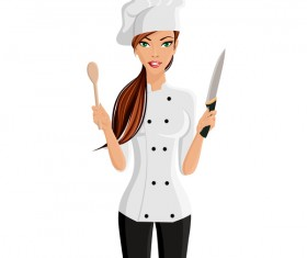 Woman chef with kitchenware vector