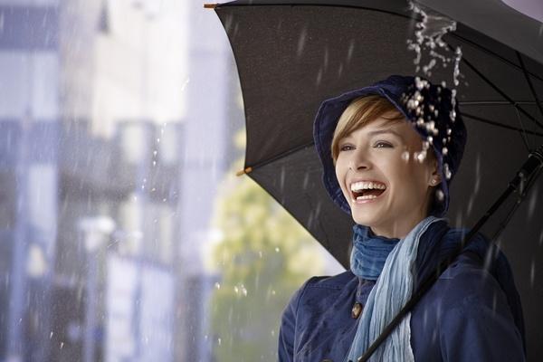 Woman having fun with umbrella on rainy day Stock Photo 01