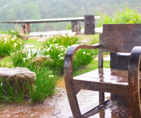 Wooden chair in the garden in the rain Stock Photo