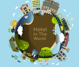 World travel Hotel design vector