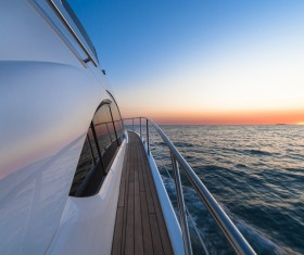 Yacht exterior deck and sea closeup Stock Photo