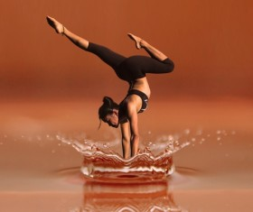 Yoga character with splash of water Stock Photo