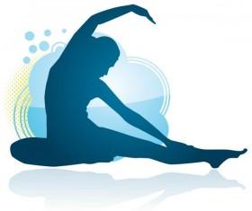 Yoga posture silhouette vector material 01