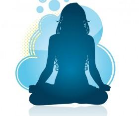 Yoga posture silhouette vector material 02