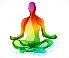 Yoga posture with colored abstract vector 01
