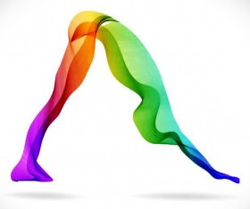 Yoga posture with colored abstract vector 02