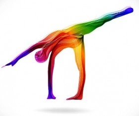 Yoga posture with colored abstract vector 05