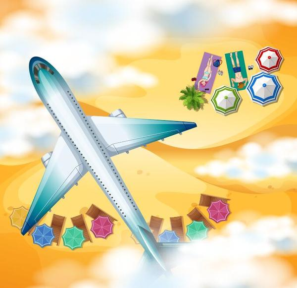 aircraft with beach travel vector