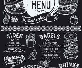bagel food menu template vector 01