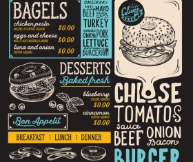 bagel food menu template vector 02