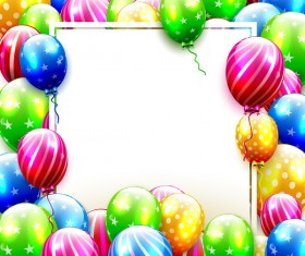 birthday full balloons frame vector