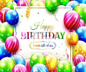 birthday full balloons lettering vector