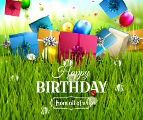 birthday gift with green grass background vector