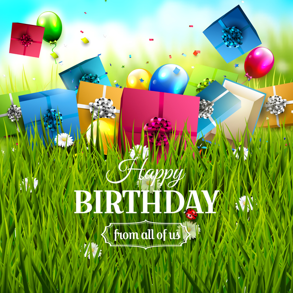 Birthday Gift With Green Grass Background Vector Free Download