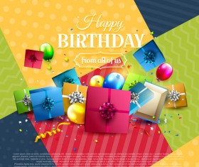 birthday poster geometric with gifts vector
