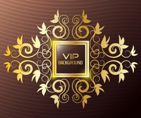 brown VIP background with golden decor vector