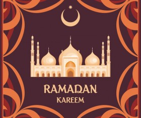 brown ramadan greeting card vector