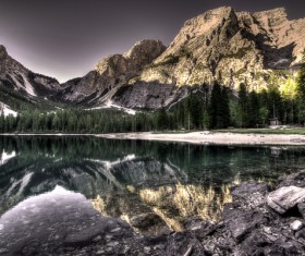 calm lake mountain landscape Stock Photo