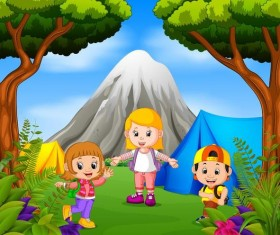camping with kids cartoon vector