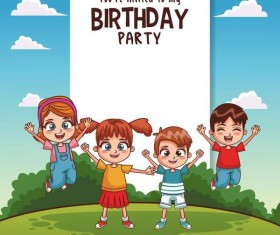 cartoon kids with brithday vector