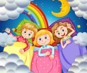 cartoon kids with rainbow and moon vector