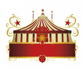 circus red border frame vector