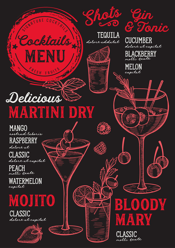 Bar Menu Template Free from freedesignfile.com