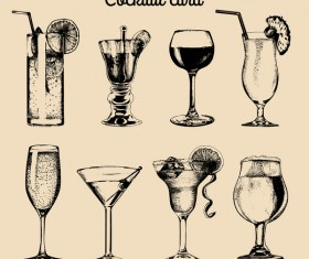 cocktail card vintage vector 01