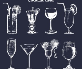 cocktail card vintage vector 02