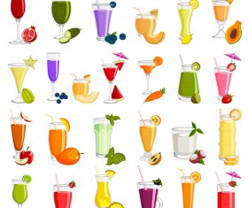 delicious fruits drink vectors