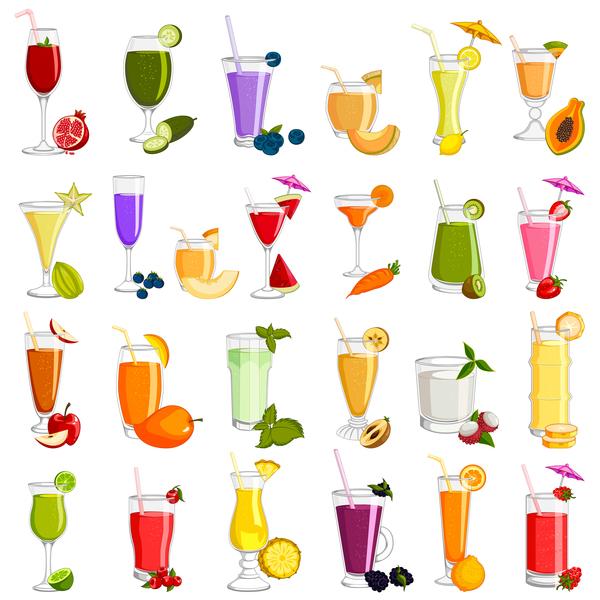 delicious fruits drink vectors