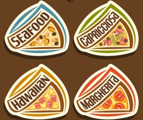 delicious pizza sticker vector 01