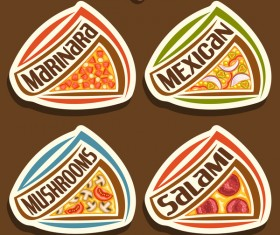 delicious pizza sticker vector 02