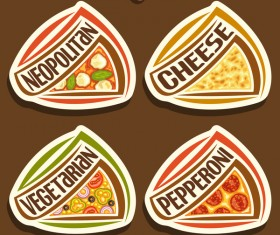 delicious pizza sticker vector 03
