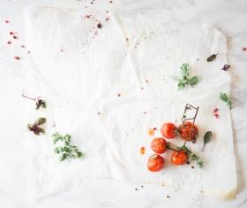 desktop remaining vegetables after meal Stock Photo